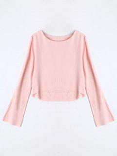 Long Sleeve High Low T-shirt - Pink S