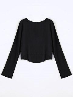 Long Sleeve High Low T-shirt - Black S
