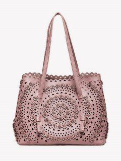 Cut Out Rivet Shoulder Bag - Pink