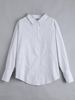 Drop Shoulder Button Up Striped Shirt - White S