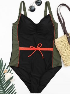 Plus Size Colorblock Shaping Swimsuit - Xl