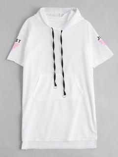 Letter Print Slit Drawstring Hooded Dress - White Xl