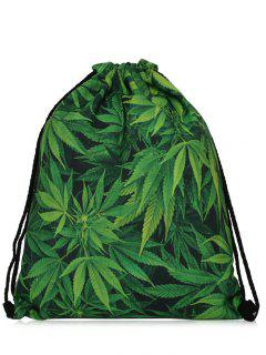 Nylon Printed Drawstring Bag - Green