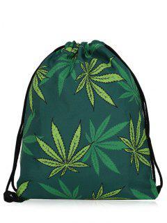 Nylon Printed Drawstring Bag - Deep Green