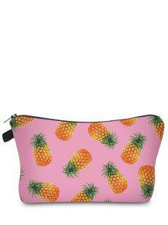 Fruit Print Makeup Bag - Pink