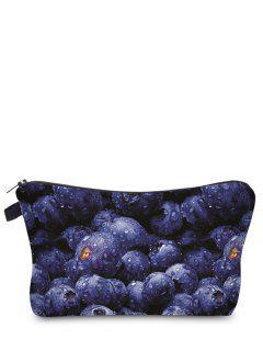 Fruit Print Makeup Bag - Blue