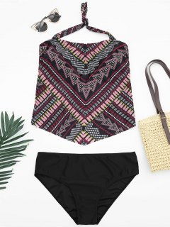 Tribal Print Padded Bandeau Tankini Bathing Suit - Multicolor Xl