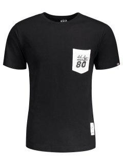 Camiseta Corta De La Letra Del Remiendo Del Bolsillo De La Manga - Negro 2xl