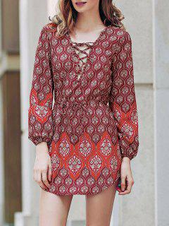 Loose Digital Print Round Neck Long Sleeve Dress - Red Xl