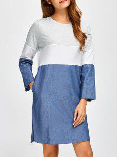 Robe En Denim Chevauché  Color Block  - Denim Bleu 2xl