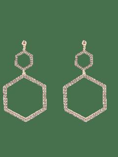 Rhinestoned Hexagon Dangle Earrings - Golden
