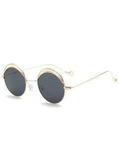 Round Two-tone Splicing Hollow Out Leg Sunglasses - Black