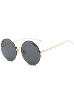 Round Semi-rimless Sunglasses - Black