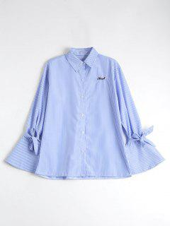 Button Up Flare Sleeve Striped Shirt - Blue Stripe S