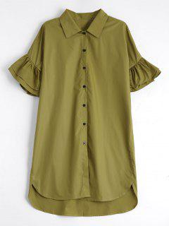 Button Up Tiered Flare Sleeve Shirt Dress - Celadon M