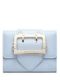 Buckle Strap Trifold Small Wallet - Light Blue