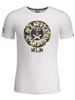 Graphic Print Short Sleeve Camouflage Tee - White Xl