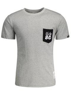 Camiseta Corta De La Letra Del Remiendo Del Bolsillo De La Manga - Gris L
