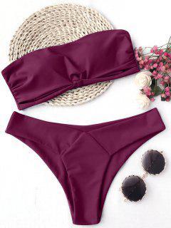 Knot Padded Bandeau Bikini Set - Burgundy M