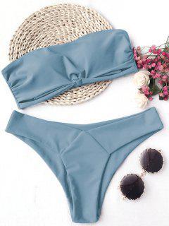 Knot Padded Bandeau Bikini Set - Blue S