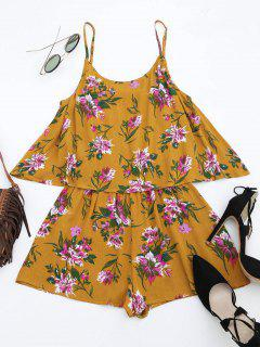 Cami Overlay Floral Romper - Yellow L