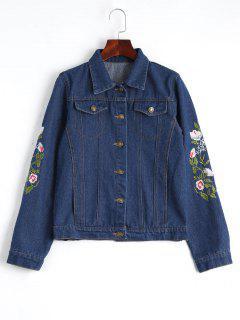 Button Up Floral Embroidered Denim Jacket - Deep Blue M