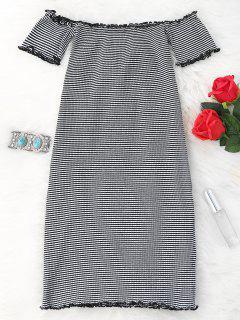 Robe Moulante Courte Rayée à épaules Dénudées - Blanc Et Noir