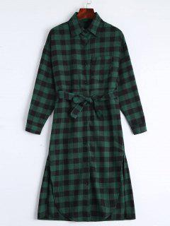 Button Up Slit Belted Checked Dress - Blackish Green