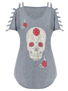 Cut Out Skull Print Plus Size Tee - Gray 5xl