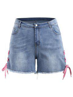 Lace Up Denim Mini Plus Size Shorts - Denim Blue 3xl