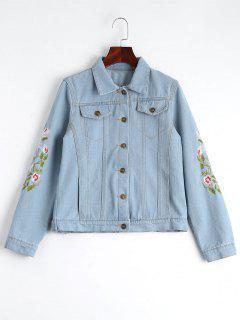 Button Up Floral Embroidered Denim Jacket - Light Blue L