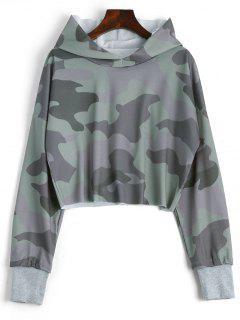 Drop Shoulder Camouflage Crop Hoodie - Camouflage S