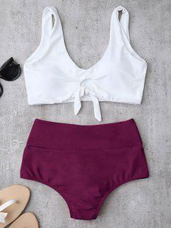 Ensemble De Bikinis Plissé Taille Haute Avec Nœud - Violacé Rouge Xl