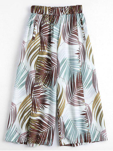 Leaves Print Culotte Pantalones - Multi L Mobile