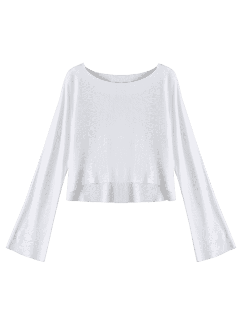 trendy Long Sleeve High Low T-shirt - WHITE M Mobile