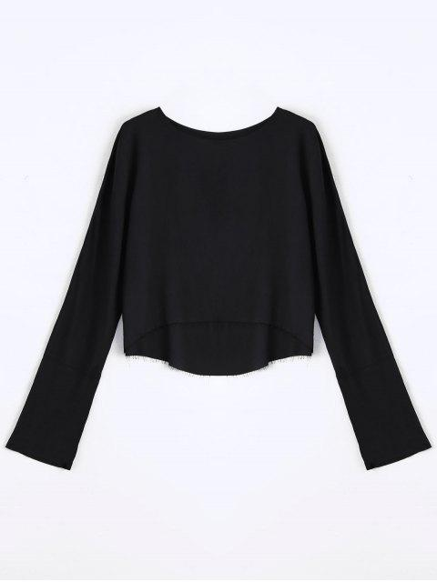 sale Long Sleeve High Low T-shirt - BLACK S Mobile