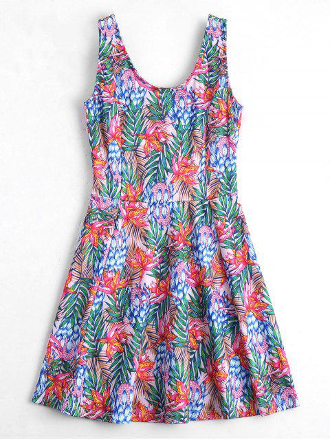 hot U Neck Floral Print Sleeveless Dress - FLORAL M Mobile