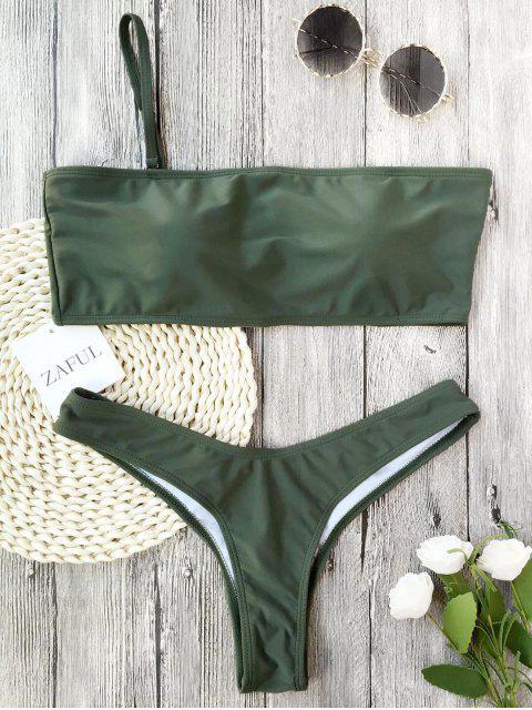 affordable Padded One Strap Bandeau Thong Bikini - ARMY GREEN M Mobile