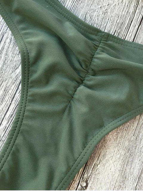 buy Padded One Strap Bandeau Thong Bikini - ARMY GREEN S Mobile