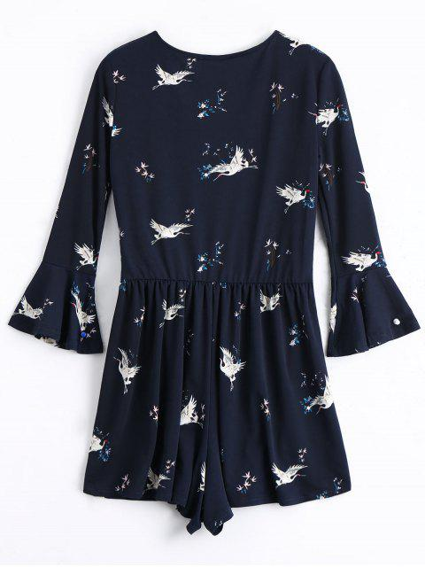 outfits Crane Print Flare Sleeve Romper - CERULEAN S Mobile