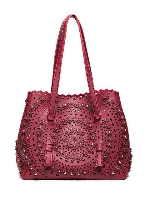 trendy Cut Out Rivet Shoulder Bag - RED  Mobile