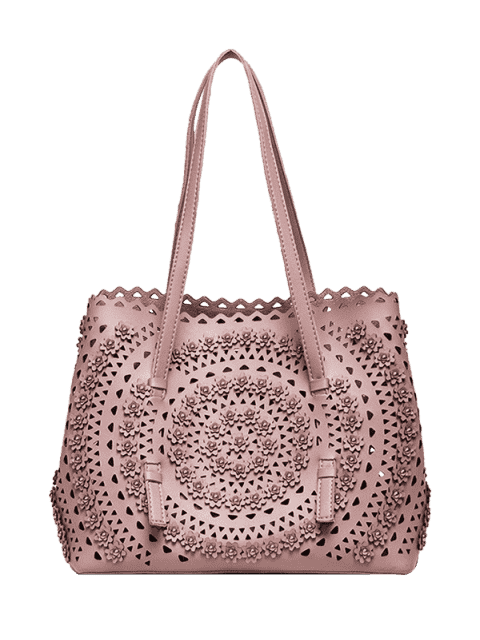 chic Cut Out Rivet Shoulder Bag - PINK  Mobile