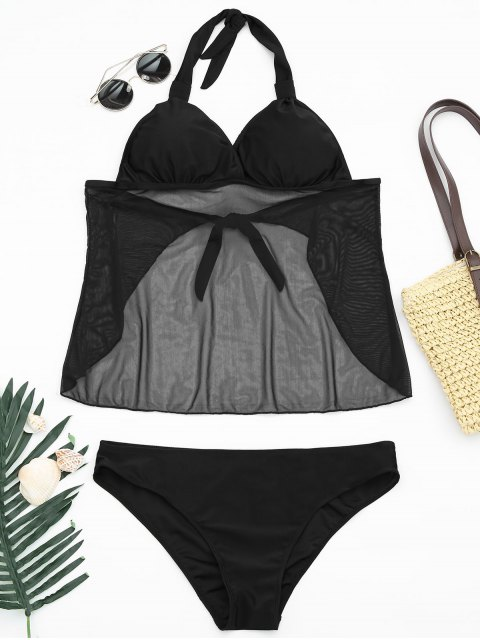 affordable Mesh Plus Size Tankini Bathing Suit - BLACK 5XL Mobile