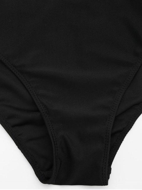 buy Mesh Plus Size Tankini Bathing Suit - BLACK 4XL Mobile