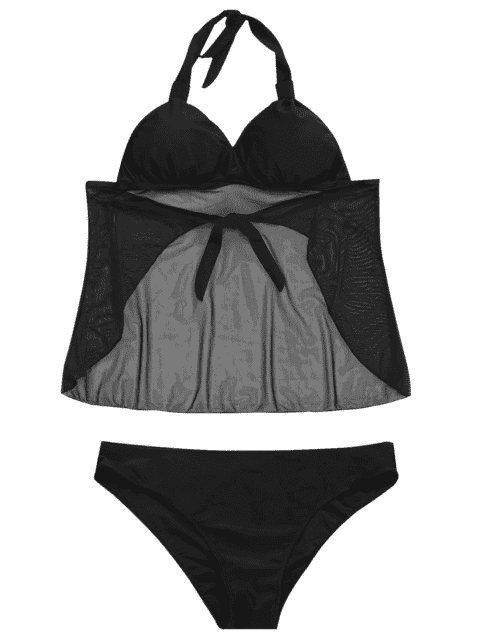womens Mesh Plus Size Tankini Bathing Suit - BLACK 3XL Mobile