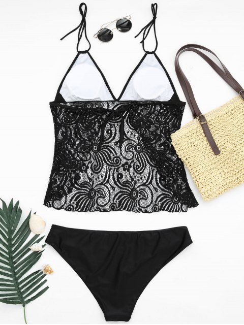 lady Lace Plus Size Tankini Bathing Suit - BLACK 4XL Mobile