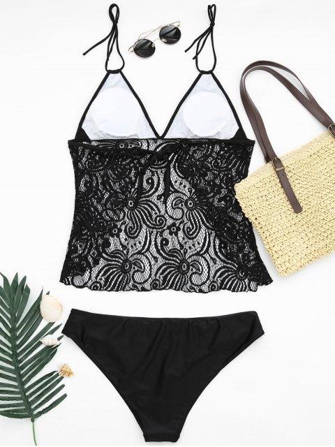 online Lace Plus Size Tankini Bathing Suit - BLACK 2XL Mobile