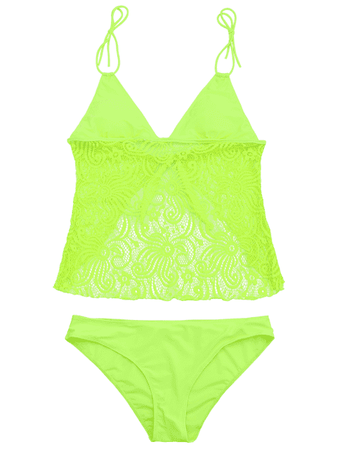 outfit Lace Plus Size Tankini Bathing Suit - NEON GREEN 4XL Mobile