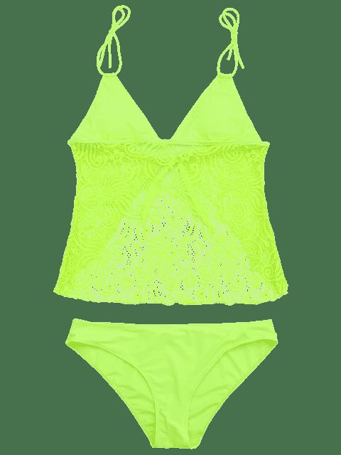 Combinaison de bain en dentelle Plus Size Tankini - Fluorescente Verte 3XL Mobile
