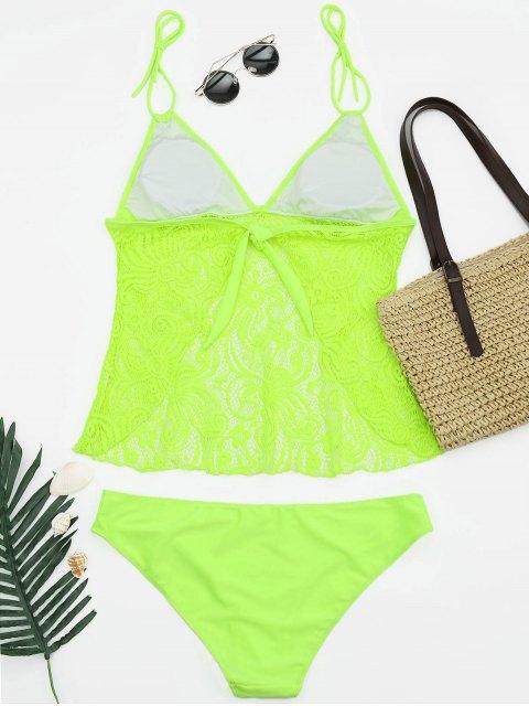 shops Lace Plus Size Tankini Bathing Suit - NEON GREEN XL Mobile
